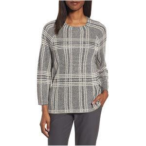Gray Tencel Merino Wool Plaid Boxy Sweater XS